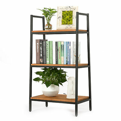 Urban 3 Tier Shelves Shelving Industrial Chic Unit Bookcase Wood Metal