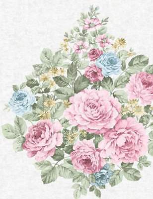 Vintage Shabby Chic Floral Bouquet Wallpaper Pink Ivory Blue Eden Hall 98741