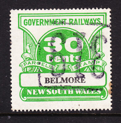 """RAILWAY STAMPS:   30c  NSW PARCEL STAMP  """" BELMORE """"  USED."""