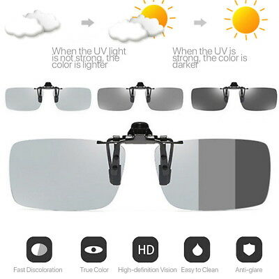 Photochromic Polarised Clip On Flip Sunglasses UV400 Polarized Fishing Eyewear