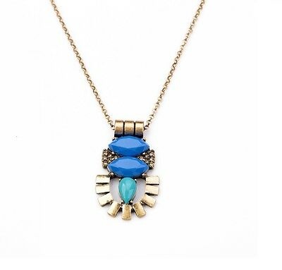 "Necklace ""Inca"" Bronze with pendant ultra design blue & turquoise (aztec)"