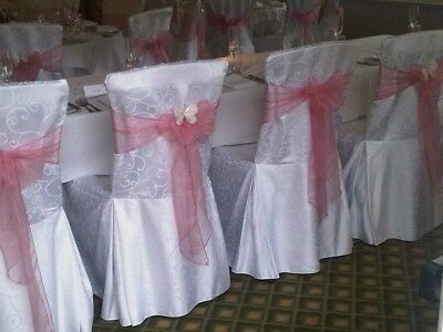 30 x White Large Patterned square top chair covers in excellent condition
