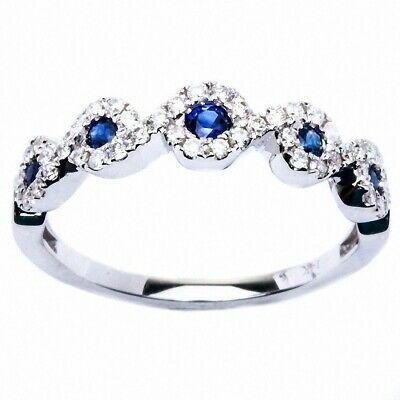 Art Deco E SI Quality Diamonds 0.48ct Blue Sapphire & Diamond Fine Ring