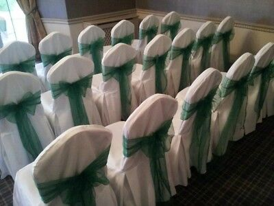 50 x Forest Green Organza Chair Cover Sashes