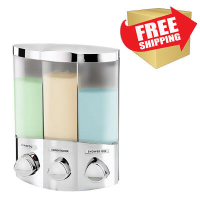 Triple Chamber Soap Shower Dispenser Wall Mounting Bathroom 3 Compartment Liquid