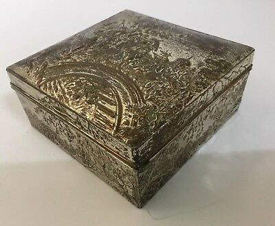 Signed Japanese silver-plated copper box c1920; Early 20 Century