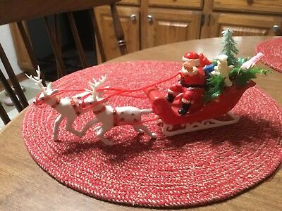 Vintage Soft Plastic Santa on a Sleigh with Reindeer Figure Xmas Decoration -VGC
