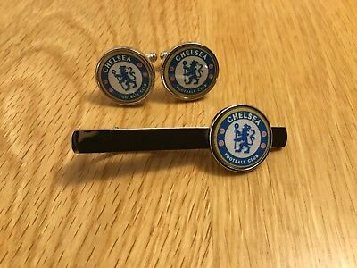 MANCHESTER UNITED CHELSEA CUFFLINK+TIE PIN*FREE VELVET POUCH*1st class postage