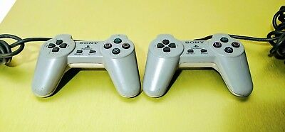 Playstation 1 Controller Lot of 2 ☆☆ Tested, Working ☆☆ - PS1 Sony OEM Official