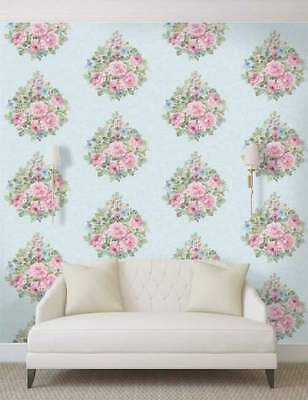 Vintage Shabby Chic Floral Bouquet Wallpaper Pink Blue Eden Hall 98740