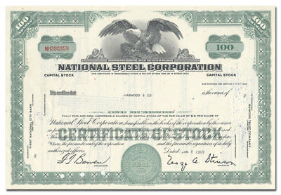 National Steel Corporation Stock Certificate