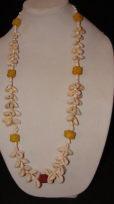 """Vintage 70's Hawaiian Cowrie Shell RED YELLOW 34"""" NECKLACE Lei Luau NOS"""