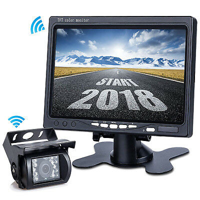 "Wireless Car Parking Reversing Camera + 7"" Rear View Monitor Kit Truck Bus Van"