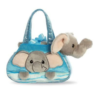 Fancy Pal Peek-a-Boo Elephant Soft Plush Toy with Patterned Blue Carrying Bag