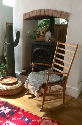 Vintage Mid Century Wooden Ladder Back Rocking Chair Ercol Influence
