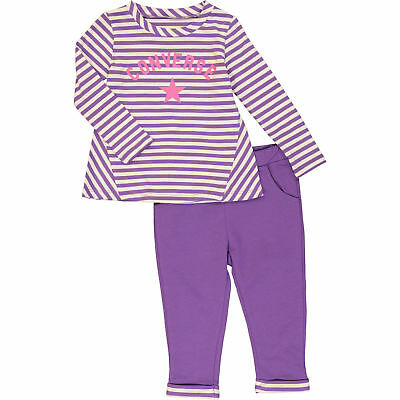 CONVERSE Purple Striped Top & Leggings, Two Piece Girls' Outfit, 18 months