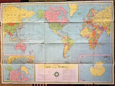 "35"" X 48"" Huge 1959 Book Enterprises Universal Map Of The World"