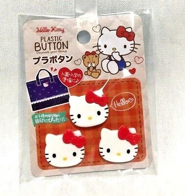 Hello Kitty Plastic Button 3 pieces set Made in Japan F/S