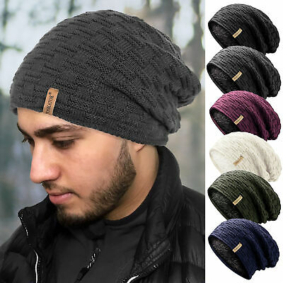 Mens Warm Winter Thermal Insulation Slouch Beanie hat Fur Teddy Fleece Liner
