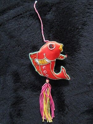 Vintage Handmade Asian Chinese Neon Silk Beaded Koi Fish Ornament Embroidered
