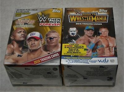 Wwe Topps Road To Wrestlemania & Then Now Forever Trading Card Box + 3 Hanger