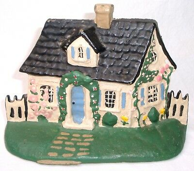 1988 Vintage Hand Painted Farmer's Cottage Cast Iron Door Stop ~ $0 Fast Ship