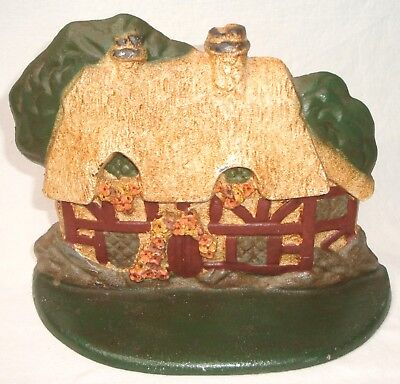 Vintage Hand Painted Farmer's Cottage Cast Iron Door Stop ~ $0 Fast US Shipping