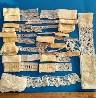 LOT of 22 Antique Laces & Trim 53 Yards in Total Edging French Net Vintage A+