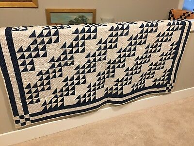 Graphic Indigo Blue And White 1880 Quilt. Classic Flying Geese.