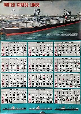 1968 United States Lines Wall Calendar w/ Freighters - NAUTIQUES sHiPs WORLDWIDE