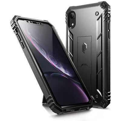 For iPhone XR Poetic [Revolution]With Built-in-Screen Protector Case Cover Black