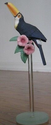 Franklin Mint Porcelain TOUCAN Bird on Lucite stand Tropical Figurine w/ Flower