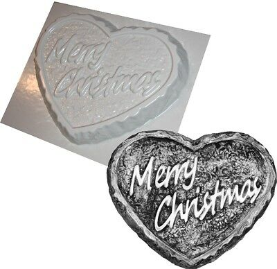 MERRY CHRISTMAS LGE HEART CONCRETE PLASTER GARDEN MOLD molds PLASTIC ABS MOULD