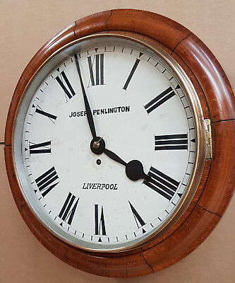 "Huge late 14"" dial Victorian Fusee School/ Railway Clock in Restored GWO."