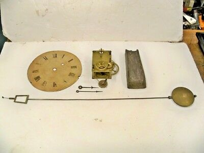 Antique American Weight Banjo Clock Movt Pend Weight Hands Dial