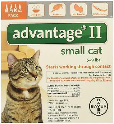 Brand New Bayer Advantage II for Small Cats 5-9 Lbs 4 Months