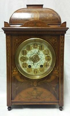 Beautiful Large Victorian Inlaid Rosewood Mantle Clock Circa 1890's