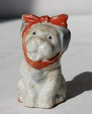 Puppy Dog Figure Ceramic-Porcelain Hand Painted Toothache Puppy Made in Japan