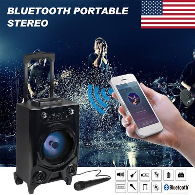 Portable Wireless Bluetooth BT Party DJ Tailgate Speaker LED Lights Rechargeable