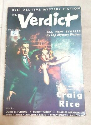 Verdict Mystery Fiction Glamour May 1954 Craig Rice