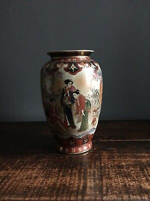 "Antique Japanese Satsuma Fine Hand Painted Meiji 12"" Signed Vase w Geishas 31cm"