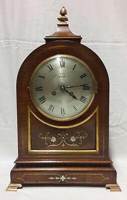 Elegant Edwardian Inlaid 8 Day Mantle Clock by Dent of London