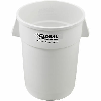 44 Gallon Garbage Can, White, Lot of 1