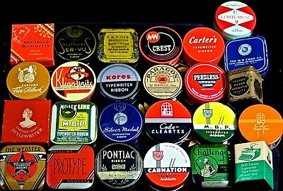 25 All Different TYPEWRITER RIBBON TINS--COMMON (#2), EXCELLENT CONDITION TINS