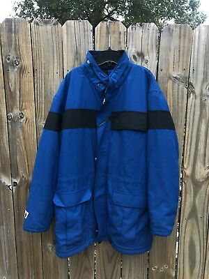 Workrite Nomex IIIa Aramid FR Long Blue Black Insulated Work Jacket Mens Large