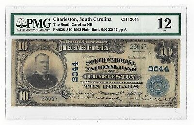 Fr#628 1902 The South Carolina NB, Charleston, SC - $10 Plain Back Note - PMG 12