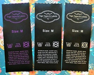 Black Satin Wash Care Labels Bespoke, Personalised