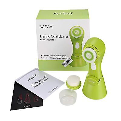 2-in-1 Electric Facial Brush Cleansing System Massager Face Cleanser Brush with