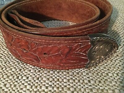 Hand Tooled Leather Belt Sterling Silver Tip