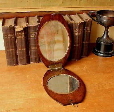 Antique Mahogany Folding Campaign Mirror. Oval Military Shaving Dressing Mirror